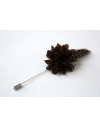 Flower and Feather Lapel Pin - Brown Dahlia Flower and brown vulturine guinea fowl feather