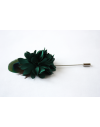 Flower and Feather Lapel Pin - Emerald green Dahlia Flower and Peacock feather