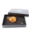 Flower and Feather Lapel Pin - Cognac Dahlia Flower and Cognac Helmeted Guineafowl feather