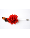 Fleur à la Boutonnière - Dahlia orange et plumes de faisan