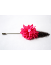 Flower and Feather Lapel Pin - Pink Dahlia Flower and guinea fowl feather
