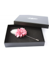 Flower and Feather Lapel Pin - Old pink Dahlia Flower and silver pheasant feather