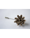 Daisy flower Lapel Pin for Men, wedding boutonniere, Taupe Alcantara®, men flower lapel pin for Dapper Men, Groom & Groom
