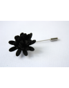 Daisy flower Lapel Pin for Men, wedding boutonniere, Black Alcantara®