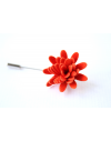 Daisy flower Lapel Pin for Men, wedding boutonniere, Bright Orange Alcantara®