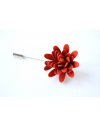 Daisy flower Lapel Pin for Men, wedding boutonniere, Blood Orange Alcantara®