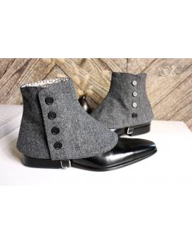 Luxury Men's Spats charcoal grey herringbone 100% merino wool