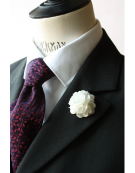 White satin flower - lapel pin for dapper men