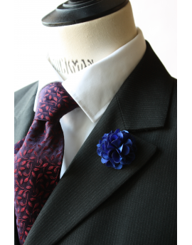 Ultramarine satin flower - lapel pin for dapper men