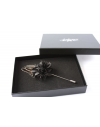 Flower and Feather Lapel Pin - Black Dahlia Flower and black silver pheasant Lewis feather