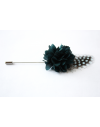 Flower and Feather Lapel Pin - Teal Blue Dahlia Flower and blue Helmeted Guineafowl feather
