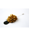 Flower and Feather Lapel Pin - Olive green Dahlia Flower and Lady Amherst Pheasant feather