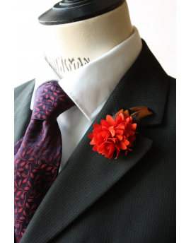 Flower and Feather Lapel Pin - Orange Dahlia Flower and pheasant feathers