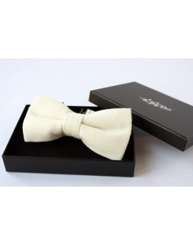 Ivory Flannel Wool Bow tie for Wedding Groom or Dapper men