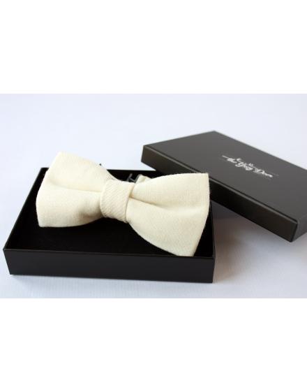 Ivory Flannel Wool Bow tie for Wedding Groom or Dapper men