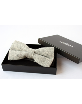 Light grey Herringbone Wool Bow tie for Wedding Groom or Dapper men