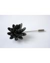 Daisy flower Lapel Pin for Men, wedding boutonniere, Anthracite Grey Alcantara®