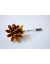 Daisy flower Lapel Pin for Men, wedding boutonniere, Mustard Yellow Alcantara®