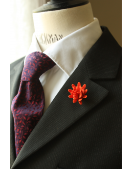 Daisy flower Lapel Pin for Men, wedding boutonniere, Bright Orange Alcantara®