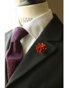 Daisy flower Lapel Pin for Men, wedding boutonniere, Blood Orange Alcantara®