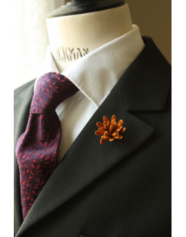 Daisy flower Lapel Pin for Men, wedding boutonniere, Rusted Orange Alcantara®