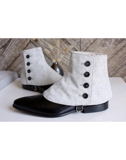 Luxury Men's Spats Silver Grey 100% wool flannel for elegant men loving the vintage style