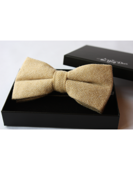 Light yellow ocher Herringbone Wool Bow tie for Wedding Groom or Dapper men