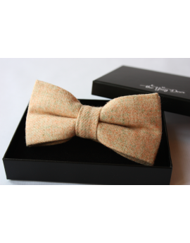 Light orange cream Tweed Wool Bow tie for Wedding Groom or Dapper men