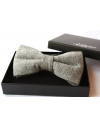 Medium grey Herringbone Wool Bow tie for Wedding Groom or Dapper men