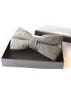Dark grey Herringbone Wool Bow tie for Wedding Groom or Dapper men