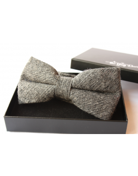 Dark grey striped Wool Bow tie for Wedding Groom or Dapper men