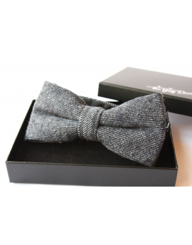 Navy blue striped Wool Bow tie for Wedding Groom or Dapper men