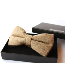 Camel striped Wool Bow tie for Wedding Groom or Dapper men
