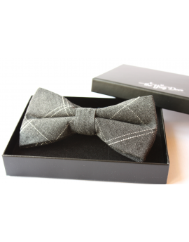 Charcoal Grey cotton checked pattern Bowtie for Elegant Stylish Dapper men