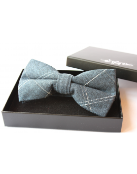 Indigo blue cotton checked pattern Bowtie for Elegant Stylish Dapper men