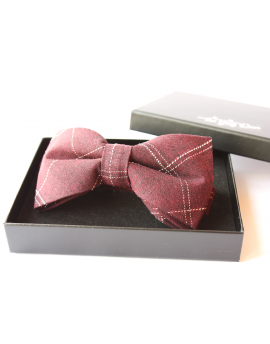 Burgundy cotton checked pattern Bowtie for Elegant Stylish Dapper men