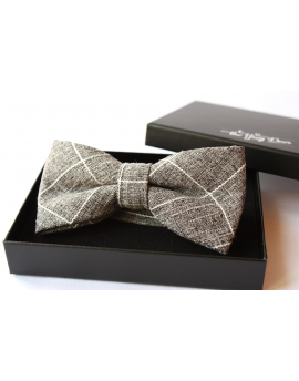 Heather grey cotton checked pattern Bowtie for Elegant Stylish Dapper men