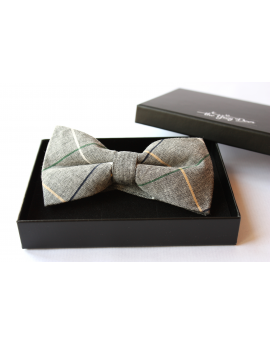 Grey, Green, Blue & Cream cotton checked pattern Bowtie for Elegant Stylish Dapper men