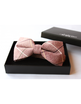 Old pink , Green, Burgundy & White cotton checked pattern Bowtie for Elegant Stylish Dapper men