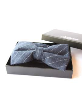 Navy blue and white striped cotton checked pattern Bowtie for Elegant Stylish Dapper men