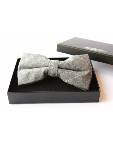 Light grey and white striped cotton checked pattern Bowtie for Elegant Stylish Dapper men
