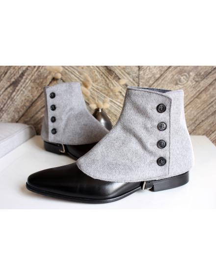 Luxury Men's Spats Grey Cashmere wool gaiters for elegant men dandy loving the vintage style