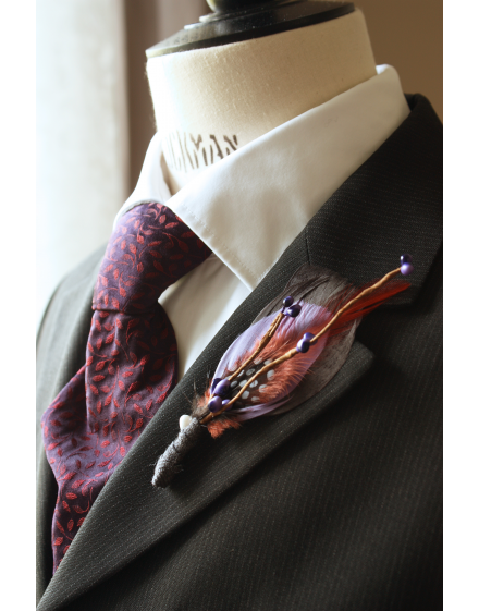 Men boutonniere - Teal and dark grey goose and guinea fowl feathers and artificial berries