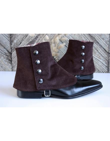 Luxury Men's Spats Chocolate corduroy velvet for elegant men dandy loving the vintage style