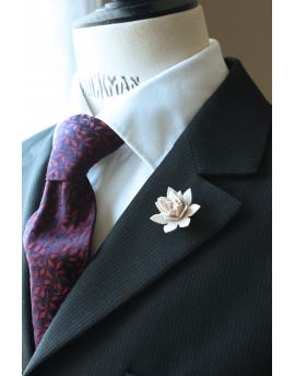 Succulent flower Lapel Pin, wedding boutonniere, Ivory Alcantara®