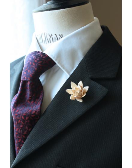 Succulent flower Lapel Pin for Men, wedding boutonniere, Ivory Alcantara®