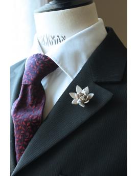 Succulent flower Lapel Pin, wedding boutonniere, Light Grey Alcantara®