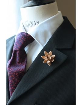 Succulent flower Lapel Pin, wedding boutonniere, Beige Nude Alcantara®