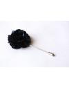 Dark blue satin flower - lapel pin for dapper men