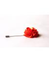 Dark salmon orange satin flower - lapel pin for dapper men